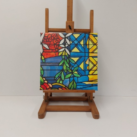 Antoni Gaudi stained glass canvas stretched in a Museum Wrap