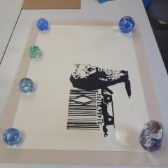Banksy Print being float mounted