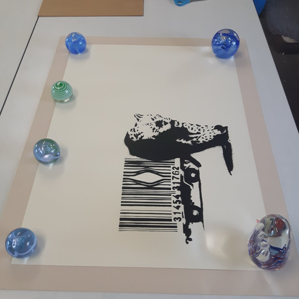 Banksy Print being float mounted