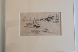 Porlock Lock pencil drawing signed by L S Lowry