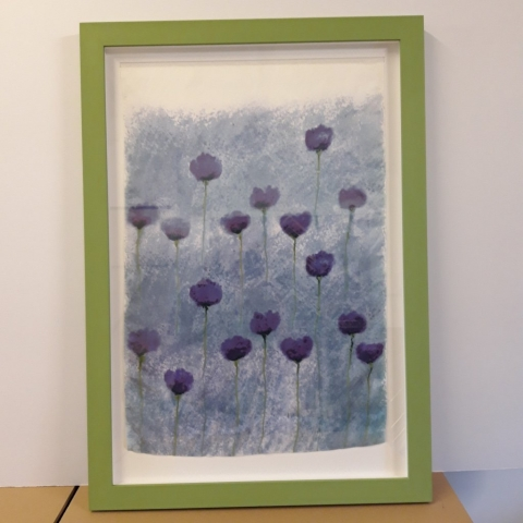 Delicate silk print framed in a hand painted deep frame