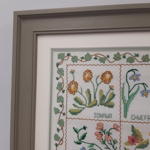 Double mount to compliment the colours in this exquisite cross stitch