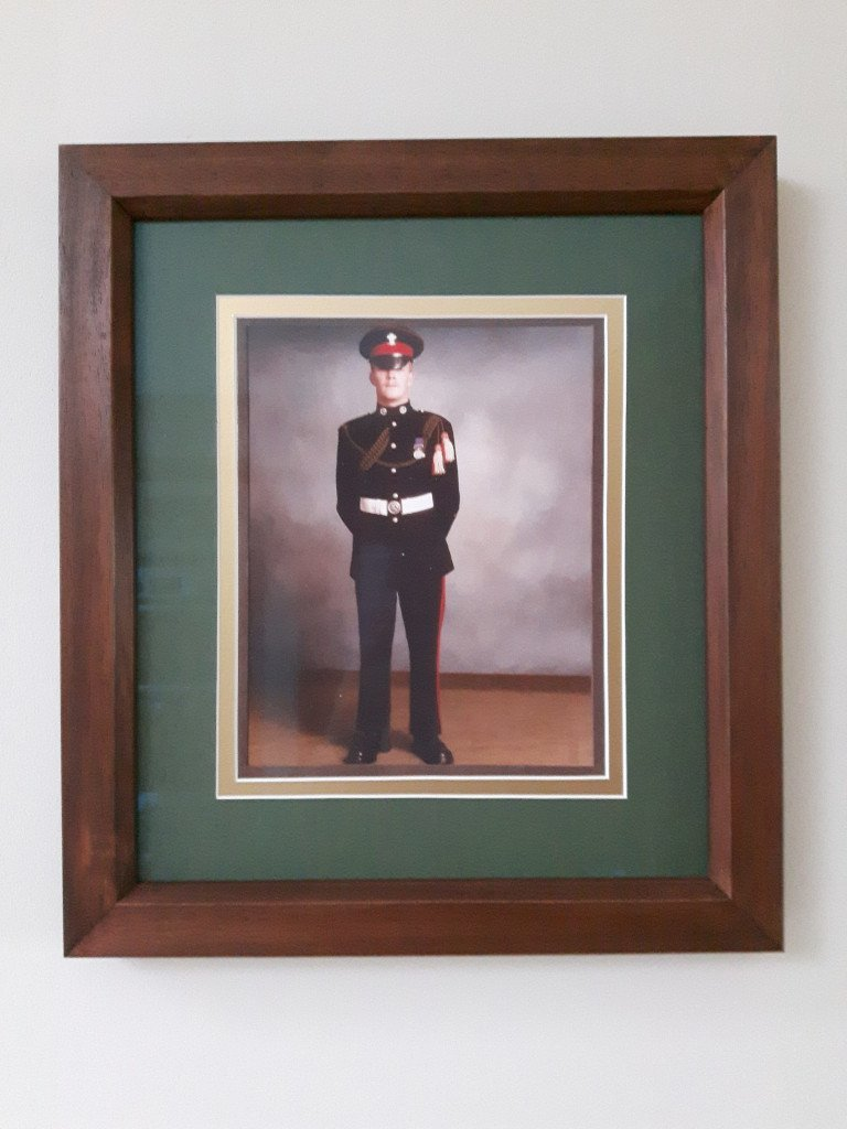 Framed photo of serviceman in uniform