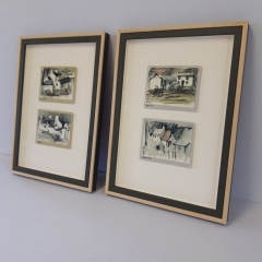 Framed set of small watercolours float mounted