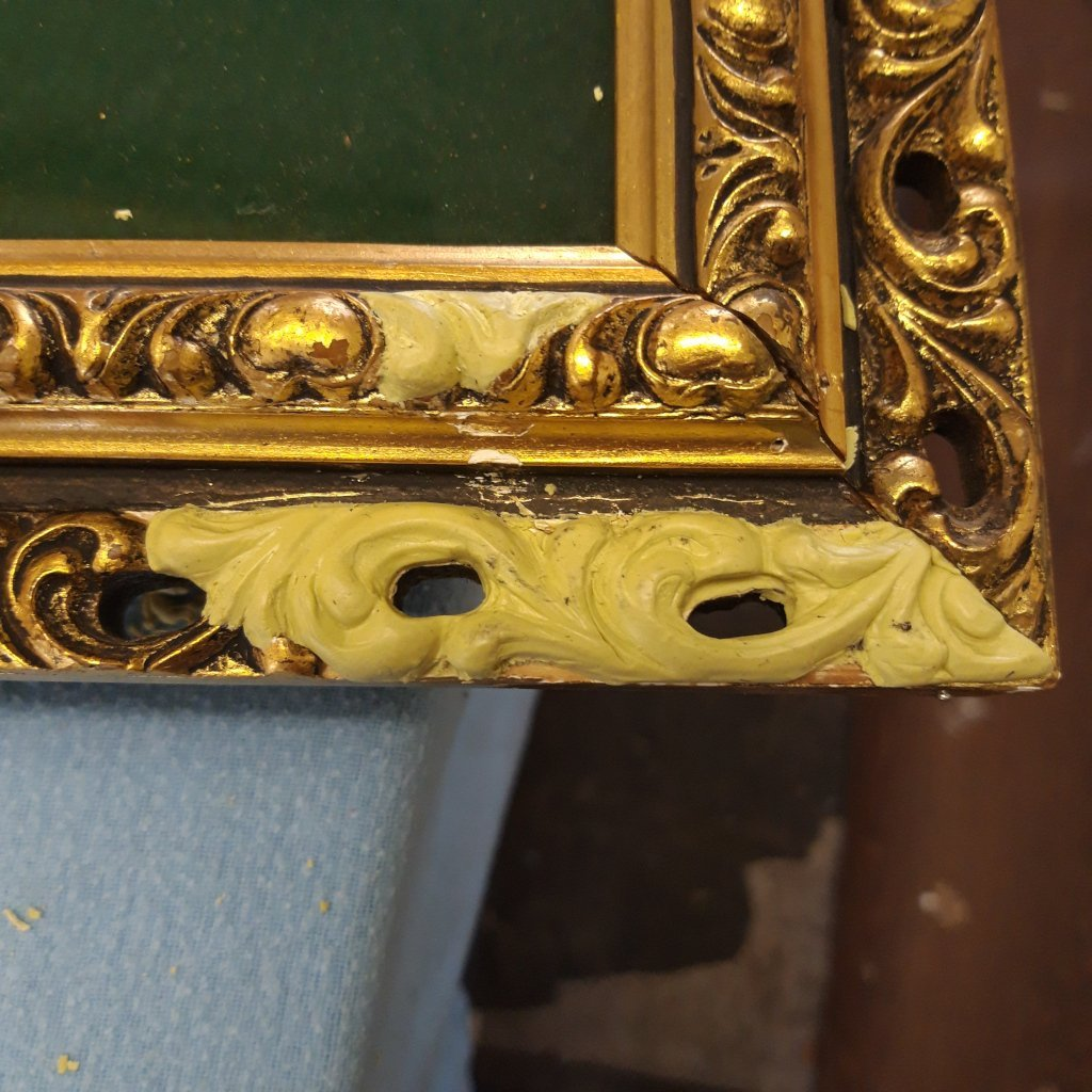Gilt Frame Repair applying the casting