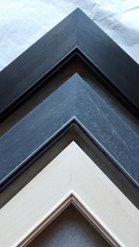 Hand Finished Waxed Frames Black Grey and White