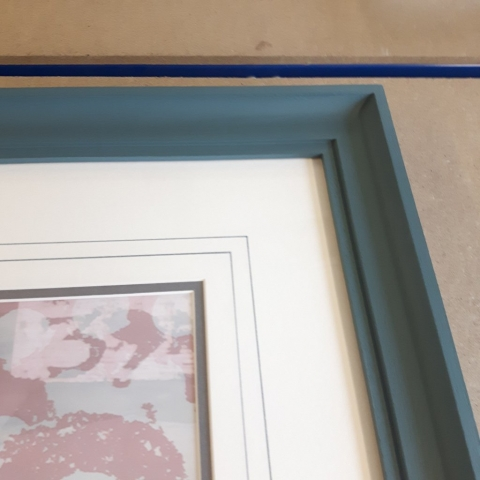 Hand Painted Frame with double mount and wash lines