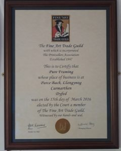 Member of the Fine Art Trade Guild certificate