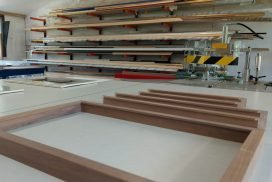 Natural hardwood mouldings being assembled