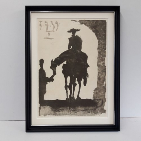 Picasso Print in deep mount and black moulding with silver sight edge