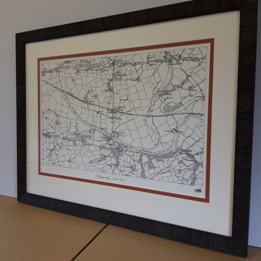 Reproduction map framed in a double mount for extra definition
