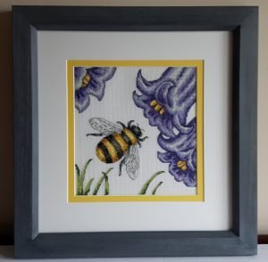 Textile Case Study Cross Stitch in double mount and hand finished frame